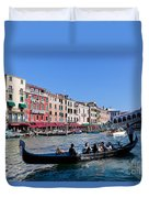 Venice Italy Gondola With Tourists Floats On Grand Canal Duvet Cover