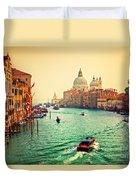 Venice Italy Grand Canal And Basilica Santa Maria Della Salute At Sunset Duvet Cover