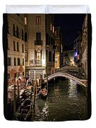 Venice Night By The Canal Duvet Cover