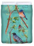 Verdigris Songbirds 1 Duvet Cover