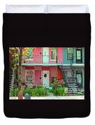 Verdun Flower Boxes Pink House Fenced Front Garden Red Flowers Staircase Scenes Carole Spandau Duvet Cover