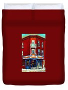 Verdun Landmarks Pierrette Patates Resto Cafe  Deli Hot Dog Joint- Historic Marquees -montreal Scene Duvet Cover