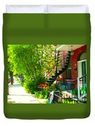 Verdun Stairs Red Flowers On Winding Staircase Tall Shade Tree Montreal Summer Scenes Carole Spandau Duvet Cover
