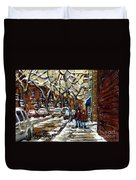 Verdun Winter Row Houses In January Montreal Paintings Time For A Walk Carole Spandau Duvet Cover