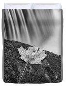 Vermont Autumn Maple Leaf Black And White Duvet Cover