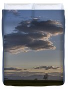 Vermont Grass Field Trees Clouds Adirondack Mountains New York Duvet Cover