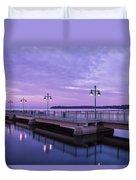 Vermont Lake Champlain Sunrise Clouds Fishing Pier Duvet Cover