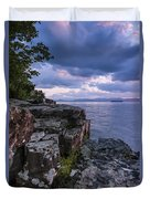 Vermont Lake Champlain Sunset Clouds Shoreline Duvet Cover
