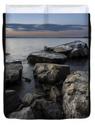 Vermont Lake Champlain Sunset Cloudscape Rocks Duvet Cover