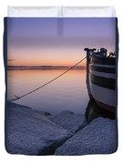 Vermont Lake Champlain Sunset Nautical Boat  Duvet Cover