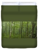 Vermont Mount Mansfield Green Forest Fog Panorama Duvet Cover
