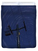 Vermont Night Sky Skiing Star Trails Duvet Cover