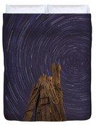 Vermont Night Star Trail Wood Pier Duvet Cover