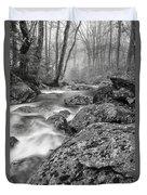 Vermont River Fog Mount Mansfield Black And White Duvet Cover