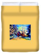 Vermont Winterscene In Blues By Montreal Streetscene Artist Carole Spandau Duvet Cover