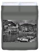 Vernazza - Cinque Terre In Grey Duvet Cover