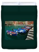 Vernazza Boats Duvet Cover by Inge Johnsson