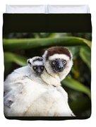 Verreauxs Sifaka With Baby Madagascar Duvet Cover