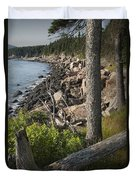 Vertical Photograph Of The Rocky Shore In Acadia National Park Duvet Cover