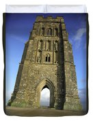 Vertical View Of Glastonbury Tor Duvet Cover