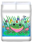 Very Happy Spotted Frog Duvet Cover by Nick Gustafson