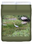 Very Hungry Blue Heron Duvet Cover