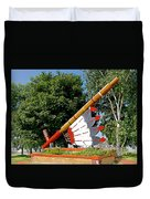 Very Large Pipestone Pipe Sculpture By Former Rock Island Line Railroad Depot In Pipestone-minnesota Duvet Cover