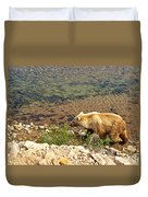Very Light-colored Grizzly Bear In Moraine River In Katmai Nnp-ak Duvet Cover
