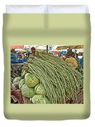 Very Long String Beans In Mangal Bazaar In Patan-nepal Duvet Cover