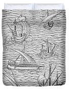 Vessels Of Early Spanish Navigators From The Narrative And Critical History Of American Duvet Cover