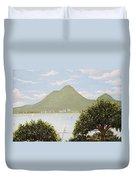 Vesuvius And Umbrella Pine Tree Duvet Cover