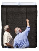 Veterans Look For A Fallen Soldier's Name On The Vietnam War Memorial Wall Duvet Cover