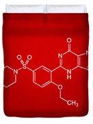 Viagra Molecular Structure Red Duvet Cover