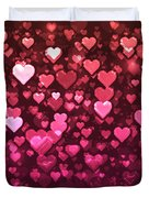 Vibrant Pink And Red Bokeh Hearts Duvet Cover