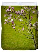 Vibrant Pink Magnolia Blossoms Duvet Cover