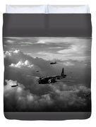 Vickers Wellingtons No 75 Squadron Black And White Version Duvet Cover