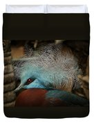 Victoria Crowned Pigeon In Tribal Decor Duvet Cover