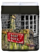 Victorian Boat Dock Sign Duvet Cover by Adrian Evans