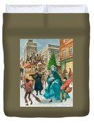 Victorian Christmas Scene Duvet Cover