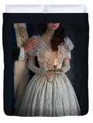 Victorian Couple At Night With Candle Duvet Cover