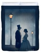 Victorian Couple At Nighttime Under Gas Lights  Duvet Cover