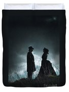 Victorian Couple Face On Another Before A Stormy Sky Duvet Cover