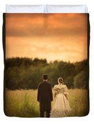 Victorian Couple In A Summer Meadow Duvet Cover