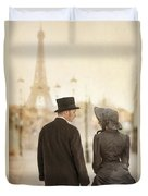 Victorian Couple In Paris Duvet Cover