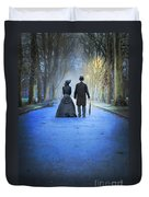 Victorian Couple In The Park At Dusk Duvet Cover