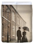 Victorian Couple On A Cobbled Street Duvet Cover