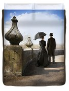 Victorian Couple Walking In The Grounds Duvet Cover