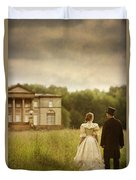 Victorian Couple Walking Towards A Country Manor House Duvet Cover