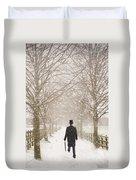 Victorian Gentleman In Snow Duvet Cover