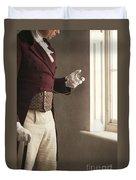 Victorian Gentleman Looking At His Pocket Watch Duvet Cover